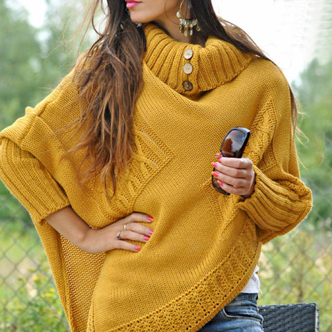 Casual Pure Color  A Lapel  Knit Sweater