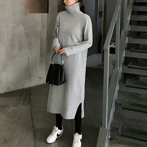 High Collar Pure Colour Cashmere Dress