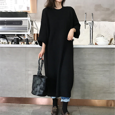 Casual Long Sleeve Solid Color Loose Dress