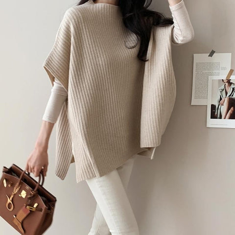 Casual Pure Color Round Collar Sweaters