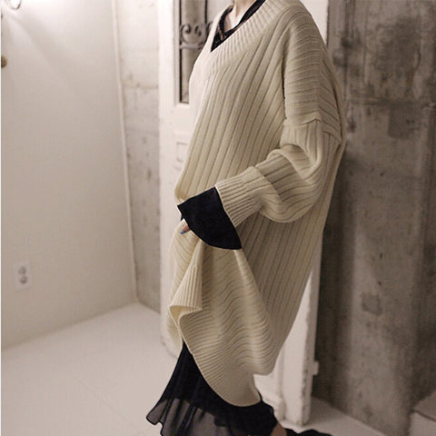 Loose Casual Solid Color Knit Sweater Dress
