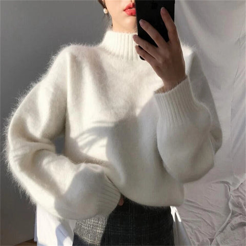 Stylish solid color turtleneck sweater