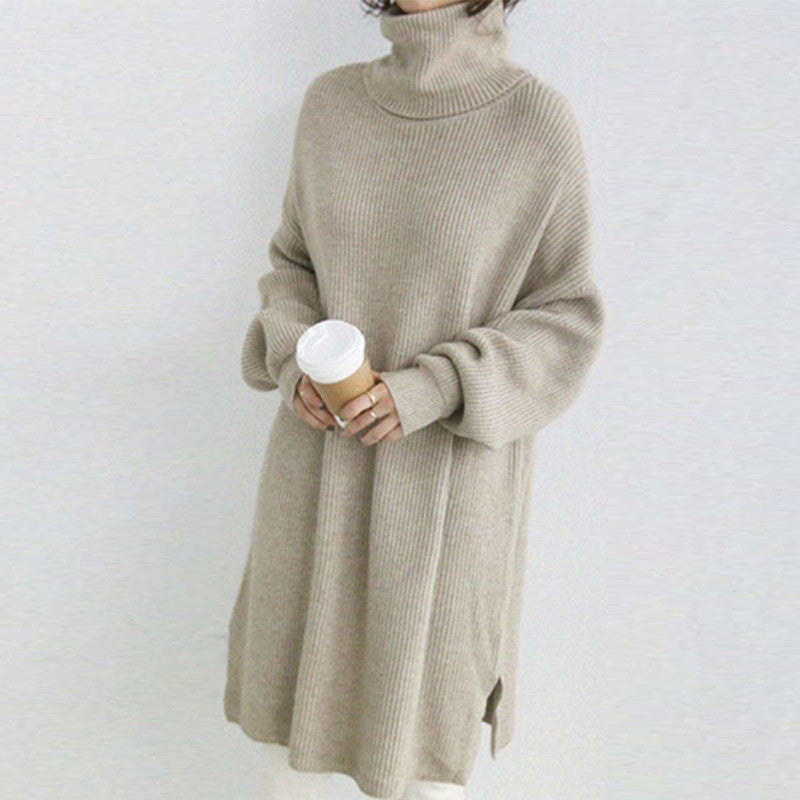 High-Necked Pullover, Lazy Loose Long-Sleeved Sweater