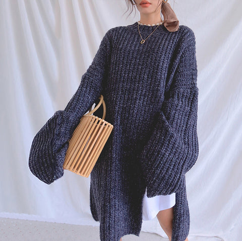 Fashion Solid Color Round Collar Sweater