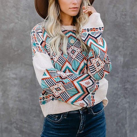 Vintage Printed Round Neck Sweater