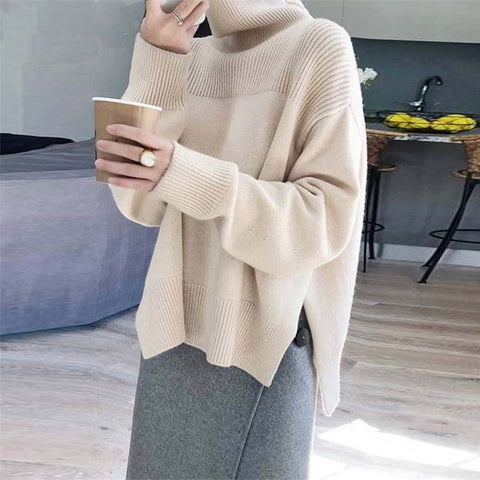 Loose Solid Color Turtleneck Sweater