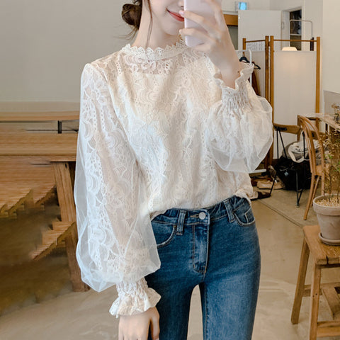 Women's Sweet Fairy Lace Stitching Mesh Long Sleeve Top