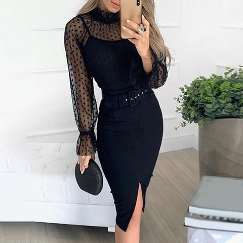 Women's Sexy Petal Sleeve Resist Pure Color Slit Dress