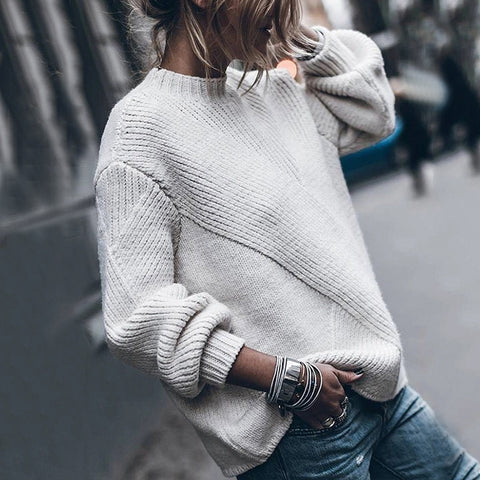 Brief Pure Color Round Neck Long Sleeve Sweater