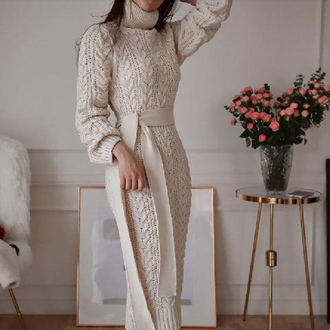 Elegant Belted Twist High Neck Knit Dress