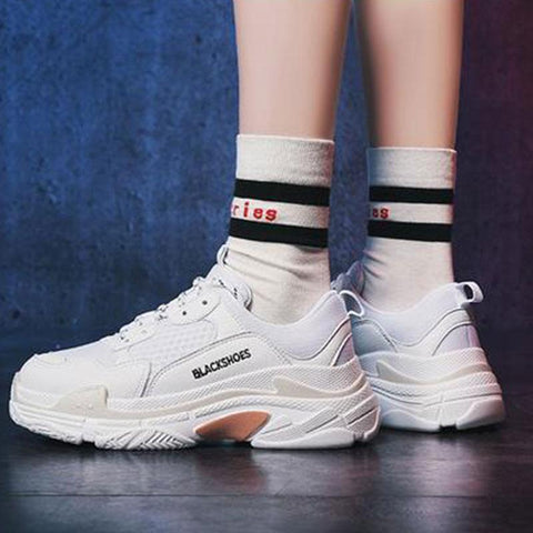 Sports And Leisure Shoes Men's  Women's Couples Retro Running White Shoes Thick Bottom Old Shoes