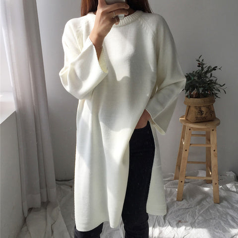 Simple White Round Neck Slit Long Knit Sweater