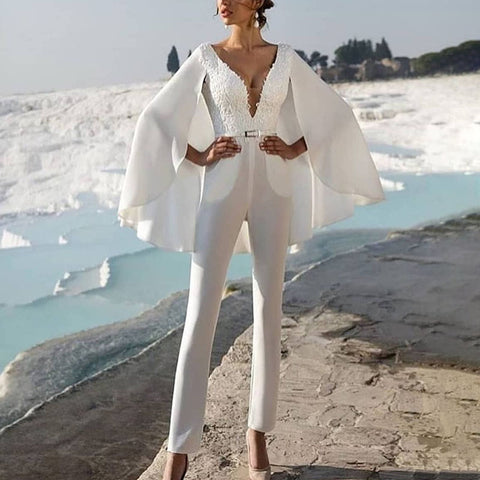 Sexy v-neck long sleeve solid color jumpsuit
