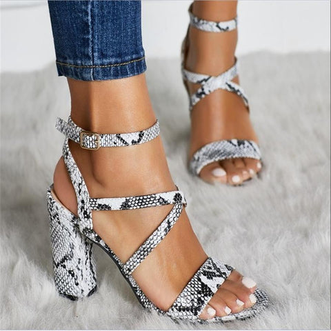 Fashion snake pattern hollow heel sandals