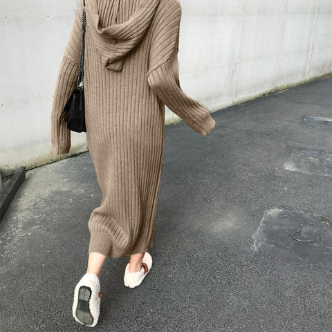 Fashion Solid Color Sweater Dress