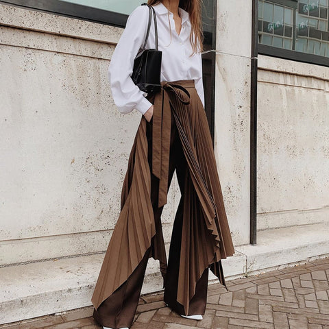 Fashion Stitching Irregular Solid Color Pants