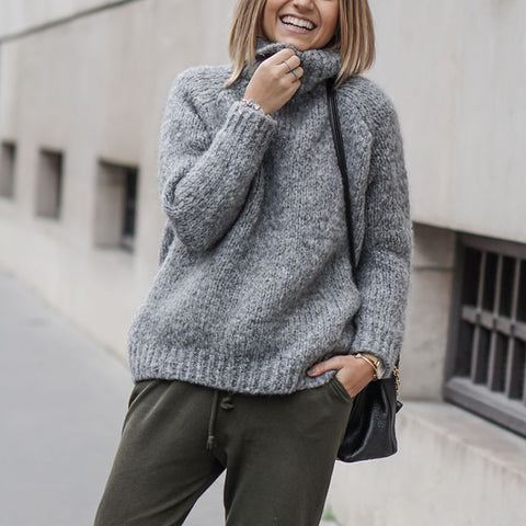 Casual Pile Collar Solid Color Loose Knit Sweater