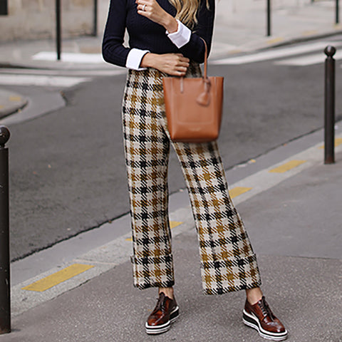 Womens Fashion Plaid Printed Colour Loose Pants