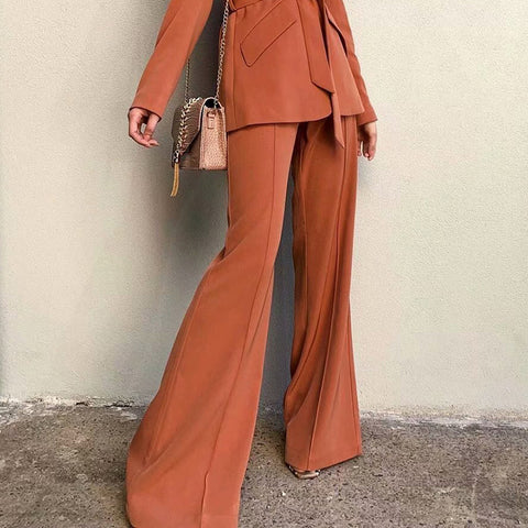 Casual solid color high waist suit flared pants