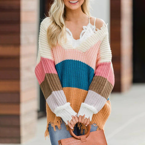 Fashion Stitching Contrast Knit Sweater