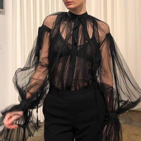 Women's Sexy Sheer Mesh Shirt
