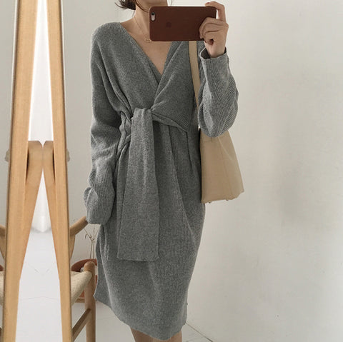 Casual Split Long Sleeve Sweater Dress