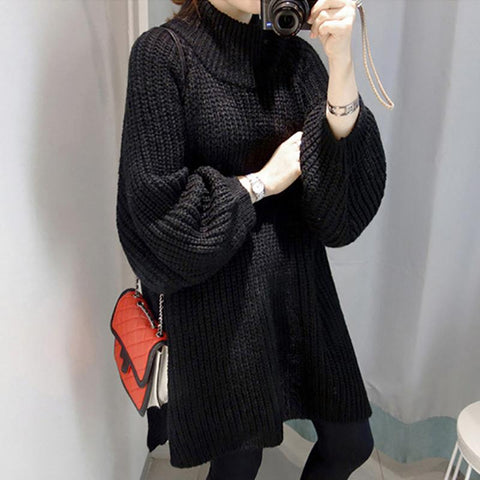 Japanese And Korean Style Solid Color Loose Split Knit Dress