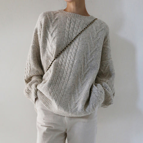 Casual round neck beige gray twist sweater