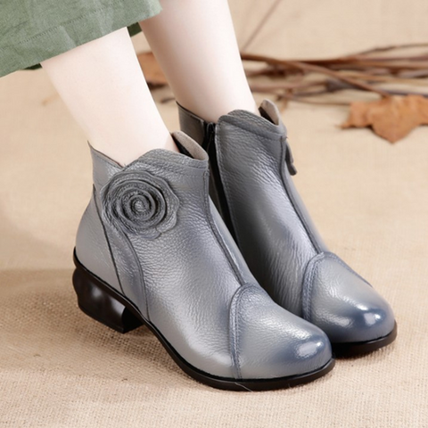 Fashion Leather   Cowhide Plush Leather Cotton Boots