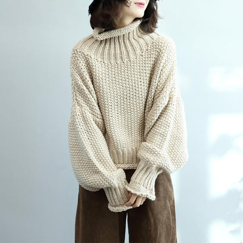 Women's Solid Colour High Collar Sweater