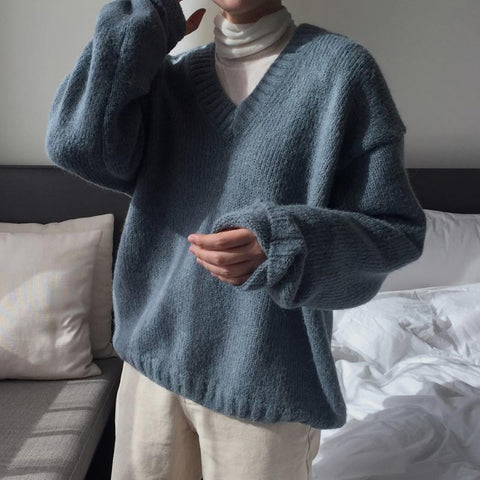 V-Neck Loose Lazy Pullover Sweater