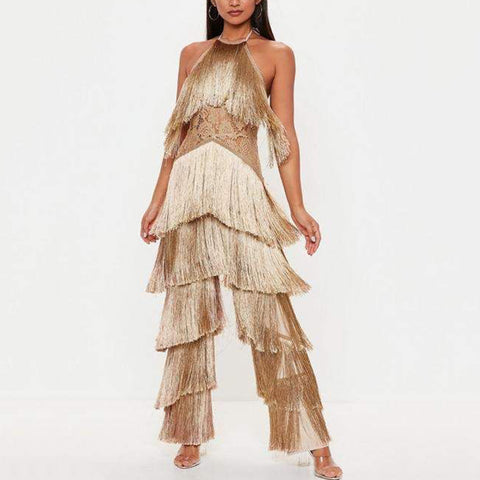 Sexy fringe lace hanging collar hollow jumpsuit