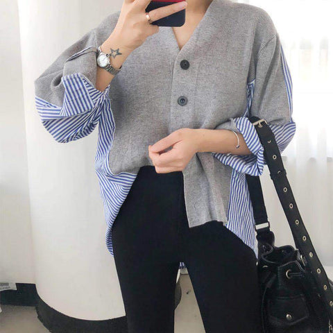 Casual V Neck Splicing Loose Knitwear