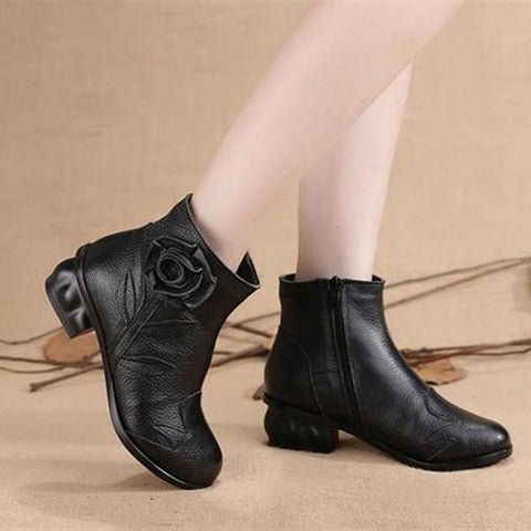 Fashion Leather   Cowhide Plush Booties