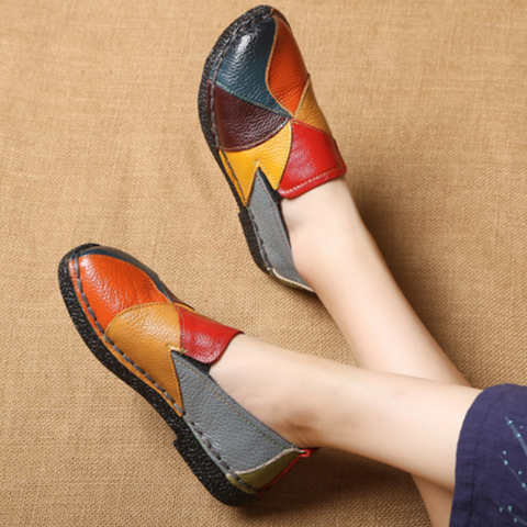 Fashion Ethnic Flat Bottom Handmade Leather Shoes