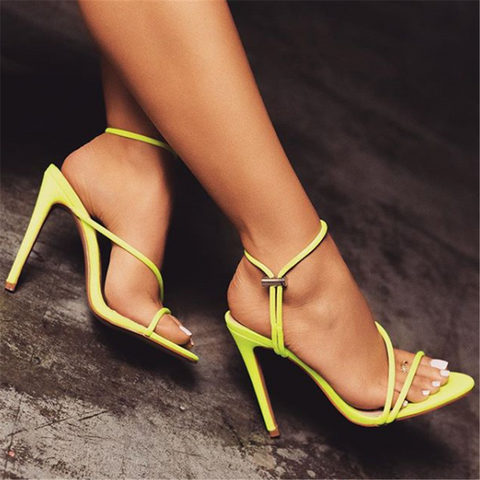 Fashion candy-colored pointed high-heeled sandals