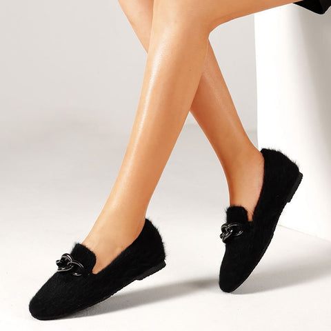 Metal buckle fluff flat bottom lazy shoes