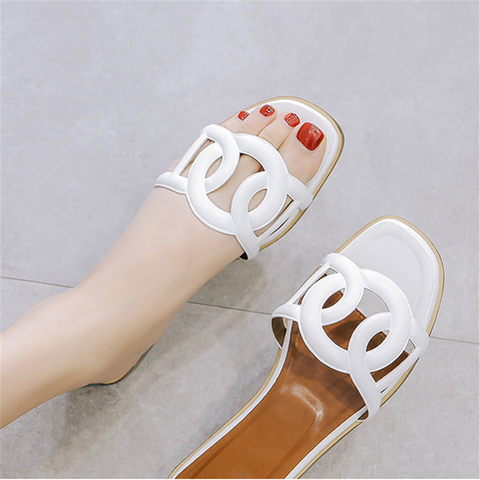 Fashion Open Toe Sheepskin Flat Slippers