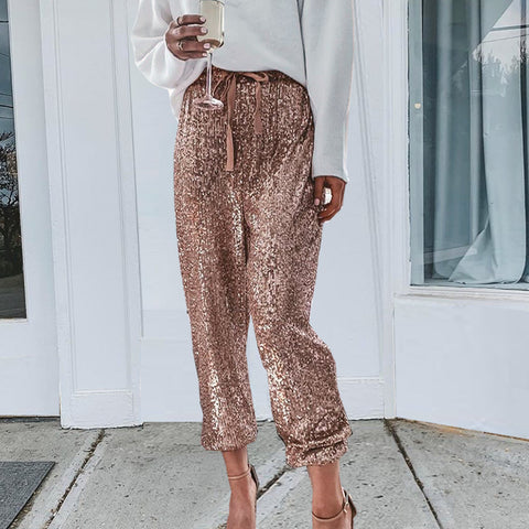 Fashion gold ruffled waist sequins drawstring trousers