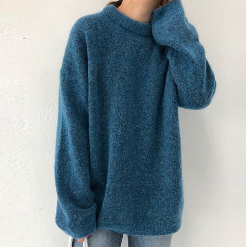 Womens Fashion Solid Colour Long Sleeve Sweater