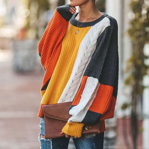 Long Sleeve Loose Geometric Sweater
