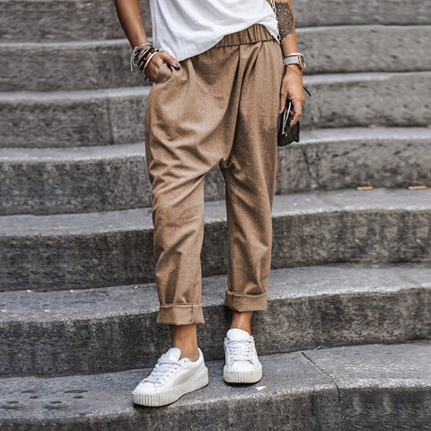 Men's Solid Color Casual Elasticated High Waist Harlan Trousers