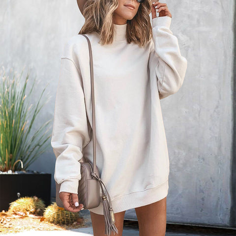 Women's Casual High Collar Pure Color Loose Sweatshirt Dress