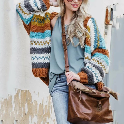 Autumn And Winter Long Sleeve Striped Sweater Cardigan