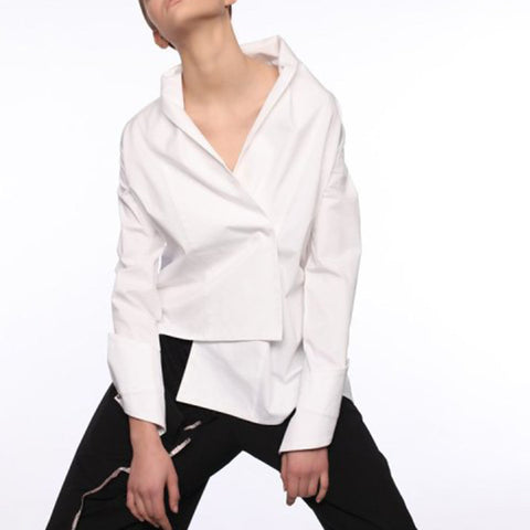 Simple Long Sleeve Fold Over Collar Shirt