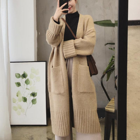 Leisure Pure Color Long-Sleeved Knitted Cardigan