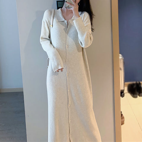 Loose versatile long knit dress