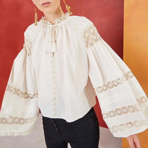 Women's Bohemian Hollow Flare Sleeve Blouse