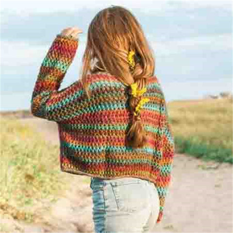 Fashion High Neck Striped Sweater