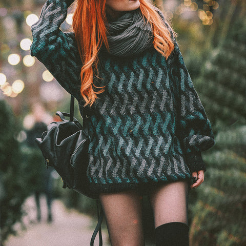 Fashion striped long-sleeved knit sweater
